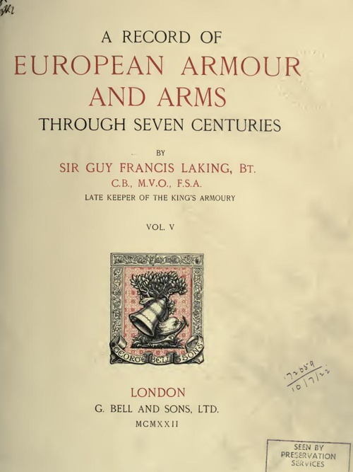 A Record Of European Armour And Arms - Vol 5