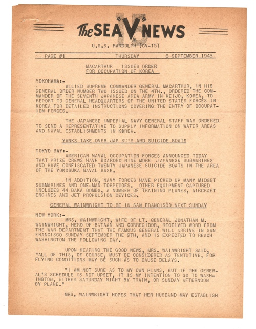 06 SEP 1945 SEA V NEWS