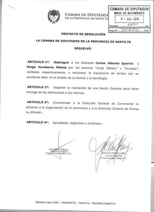 Distincion a Carlos Querini y Diego Milone