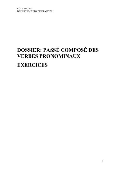 DOSSIER PASSÉ COMPOSÉ DES VERBES PRONOMINAIX EXERCICES