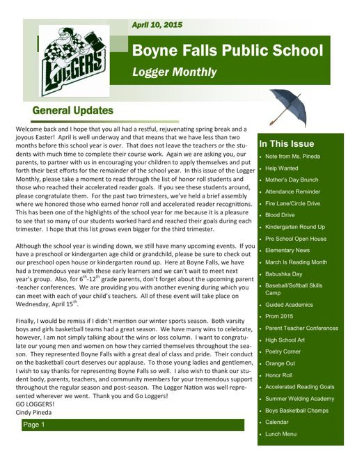 April 10, 2015 Logger Monthly