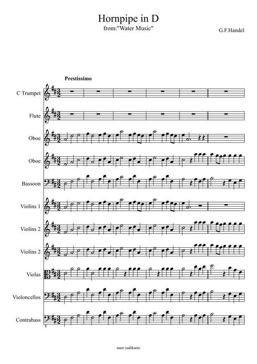 Hornpipe in D- partitura