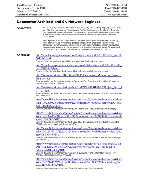 Todd's Info & Resume - 5-21-2013