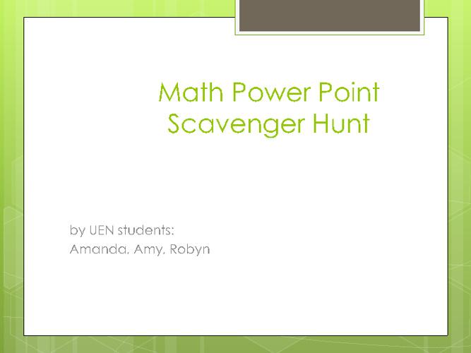 Math power point scavenger hunt