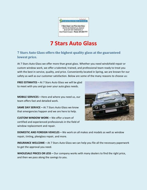 7 Stars Auto Glass