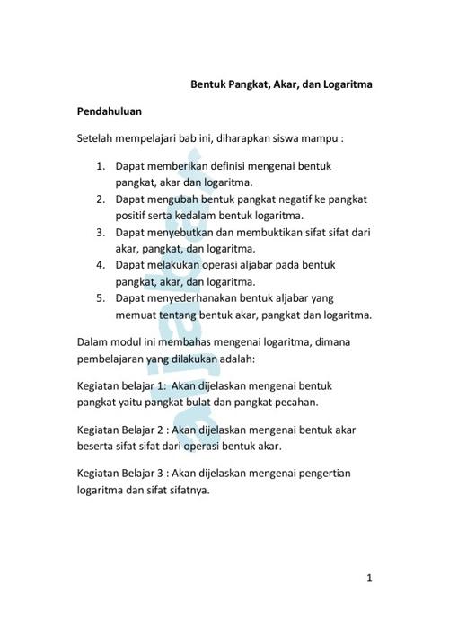 E-book Akar Pangkat Logaritma