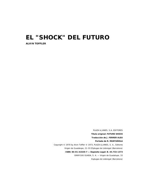 El shock del futuro de Alvin Toffler