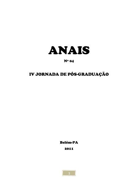 ANAIS Nº 04  IV JORNADA DE PÓS-GRADUAÇÃO