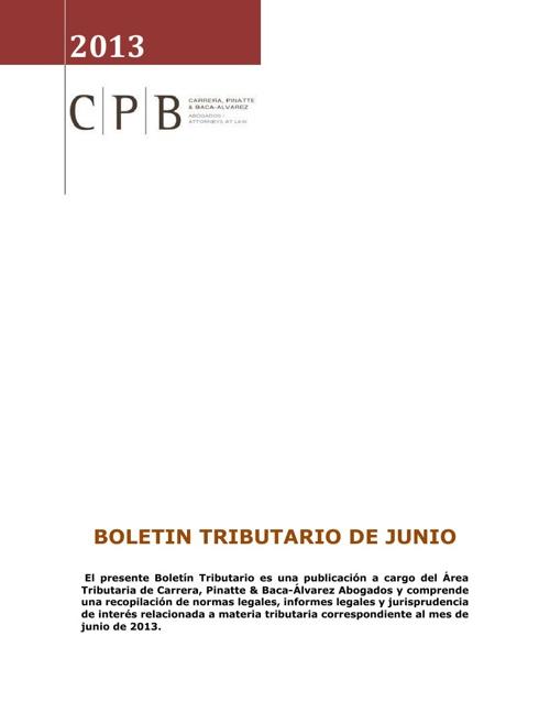 BOLETIN TRIBUTARIO CPB JUNIO 2013
