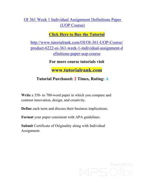OI 361 Potential Instructors / tutorialrank.com
