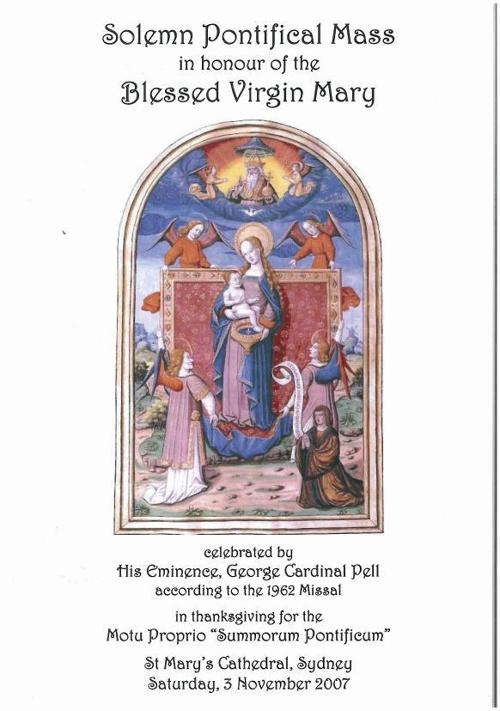 Pontifical Mass Pell Nov 2007