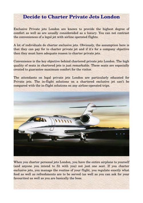 Decide to Charter Private Jets London