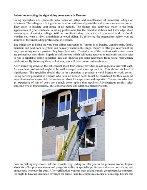 Pointer on selecting the right siding contractors in Toronto