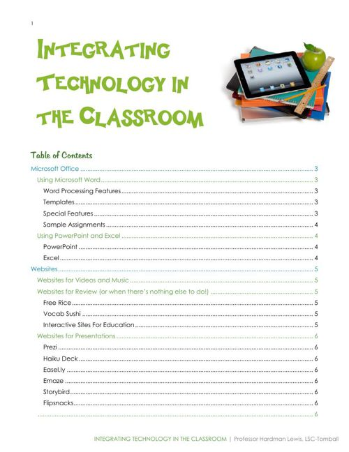 Integrating technology in lessons