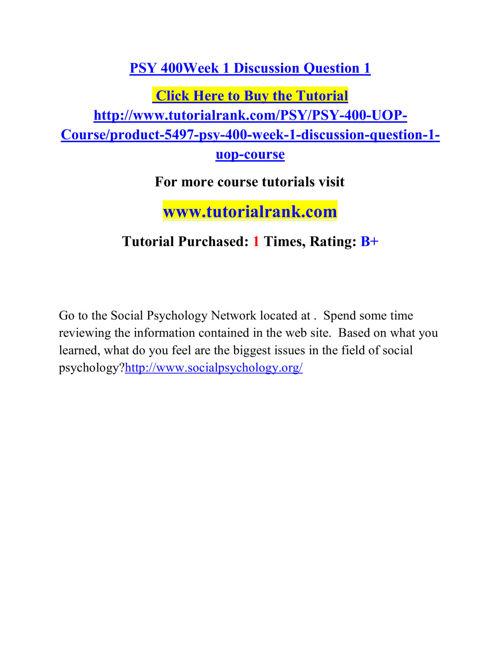 PSY 400 Course Career Path Begins / tutorialrank.com