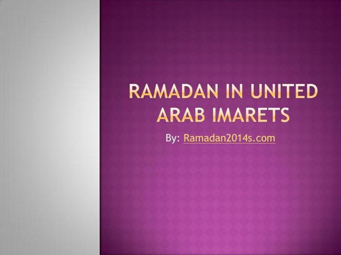 Ramadan in United Arab Imarets