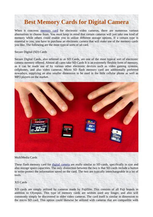 Best Memory Cards for Digital Camera