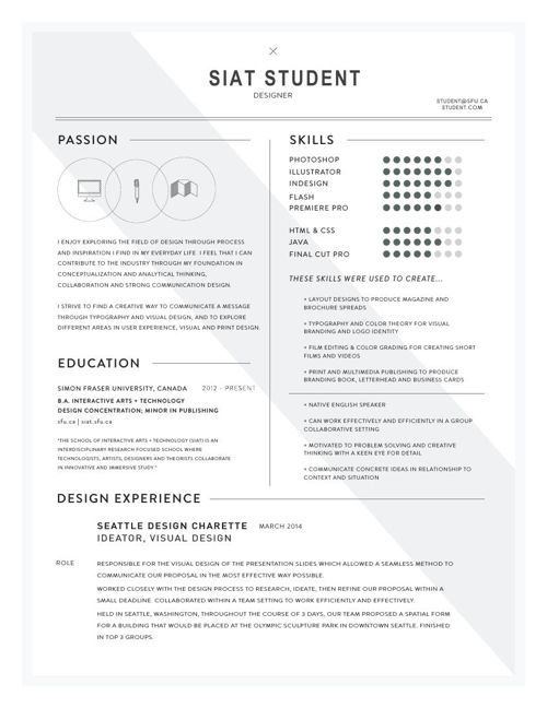 Cover Letter Gallery (SIAT - School of Interactive Arts & Tech