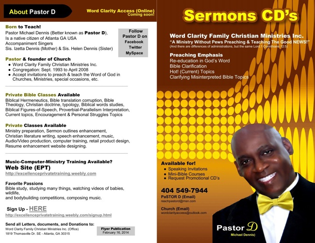 Brochure (PaSTOR D) - Sermon CD's & DVDs