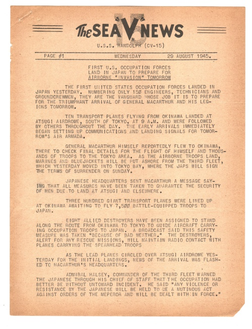 29 AUG 1945 SEA V NEWS