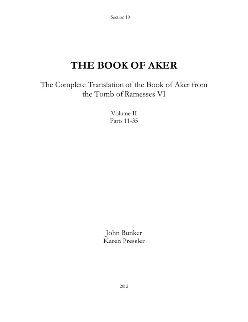 The Book of Aker - Volume II