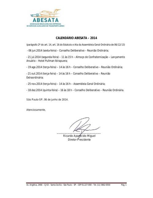 CALENDÁRIO ABESATA 2014
