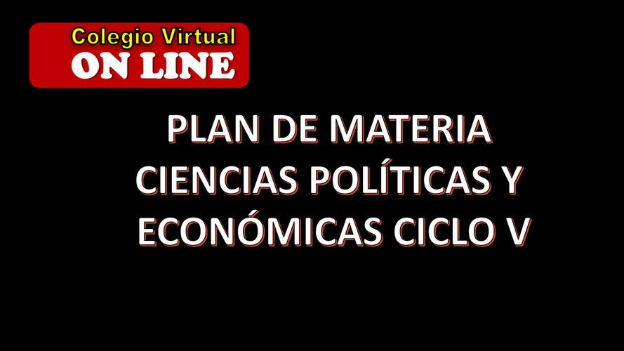 Plan Ciencias economicas y politicas ciclo V