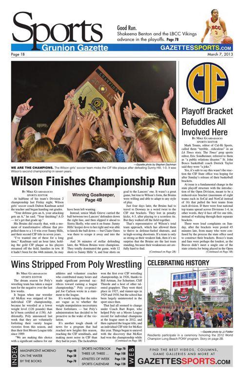 Gazette Sports   March 7, 2013