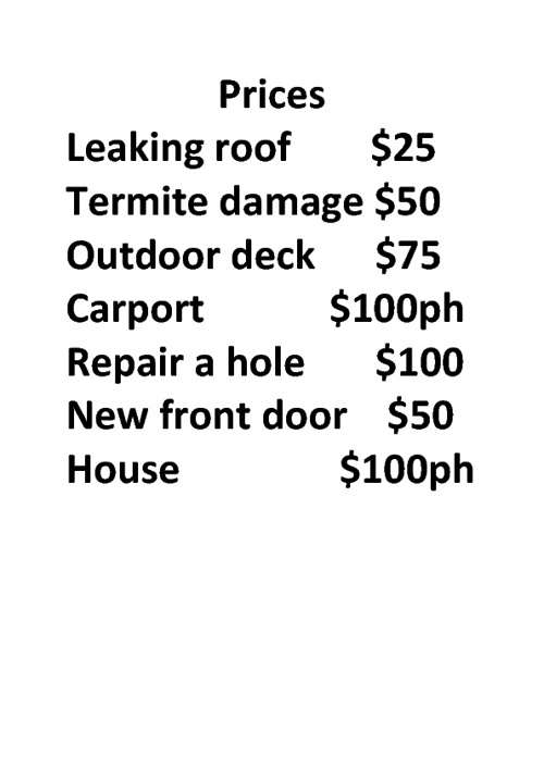 Baileys Construction Place Prices