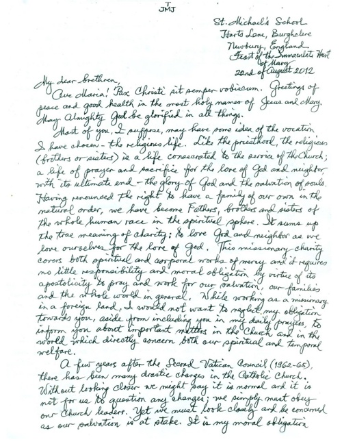 Letter from Brother Ignatius