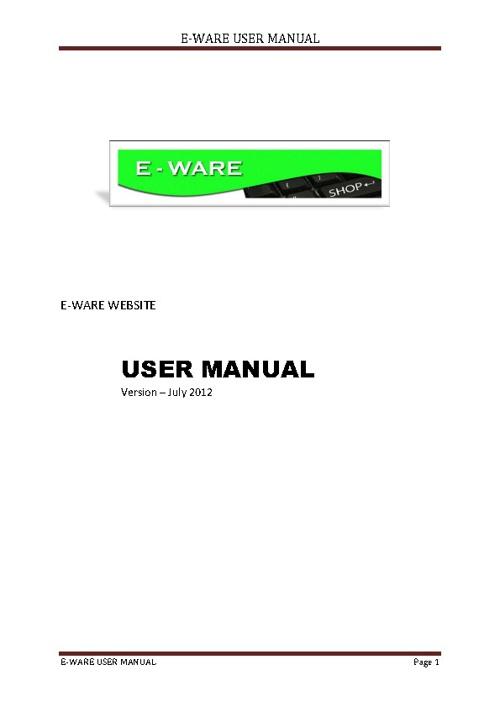 User Manual E-WARE