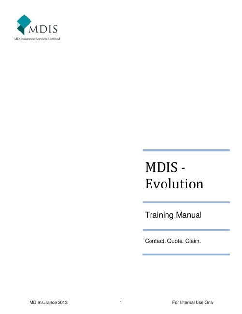 Training Manual - Evolution