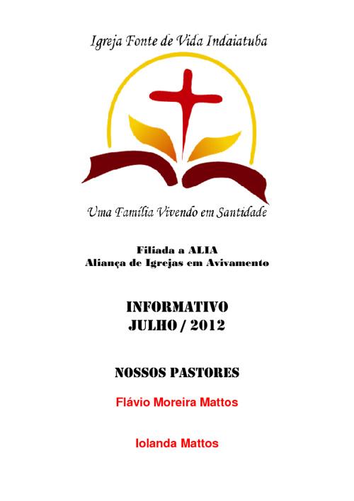 Boletim Informativo - Julho de 2012 - Fonte de Vida Indaiatuba