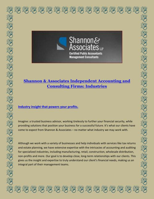 Shannon & Associates Independent Accounting and Consulting Firms