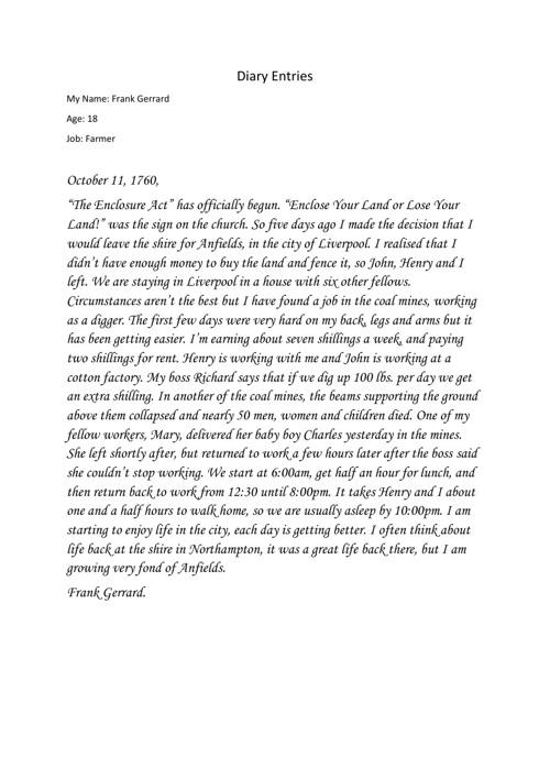 Andrew Zalunardo- History Diary Entries