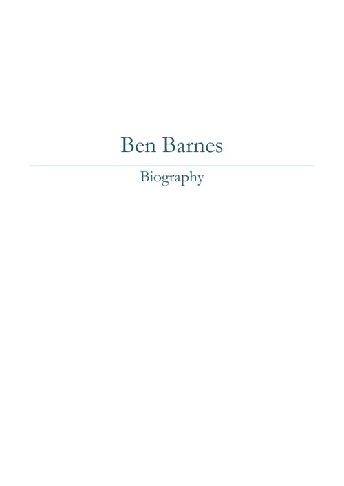 Ben Barnes Biography Book