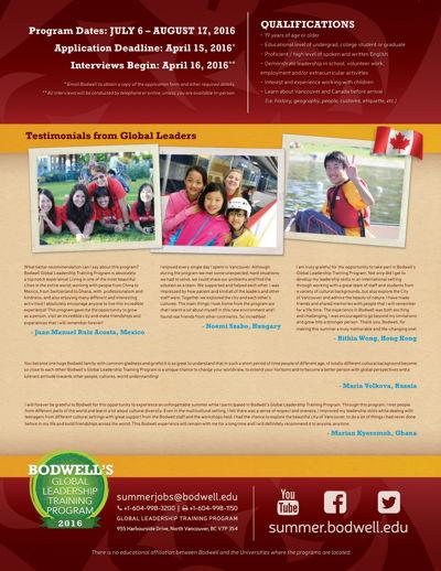 Bodwell's GLTP 2016 Brochure