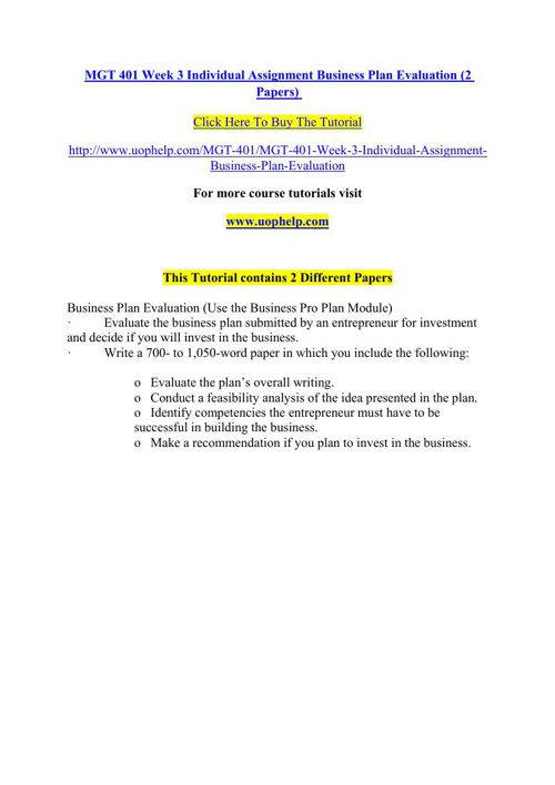 MGT 401 Week 3 Individual Assignment Business Plan Evaluation