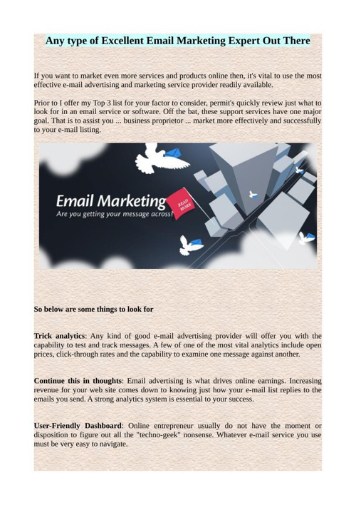 Any type of Excellent Email Marketing Expert Out There