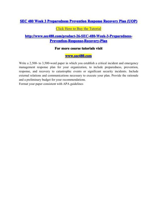 SEC 480 Week 3 Preparedness Prevention Response Recovery Plan (U