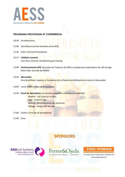 8ª Conferencia del AESS, Noviembre 2013