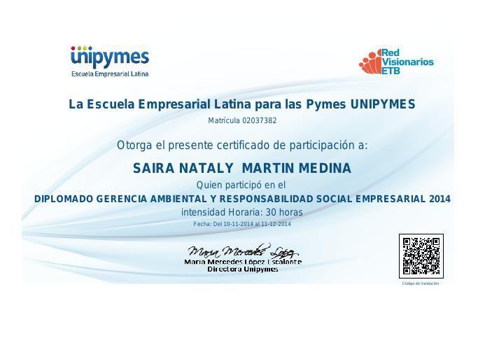 Certificado  diplomado gerencia ambiental y responsabilidad soci