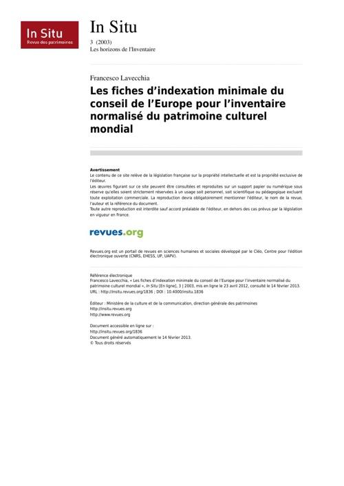 Les fiches d'indexation minimale