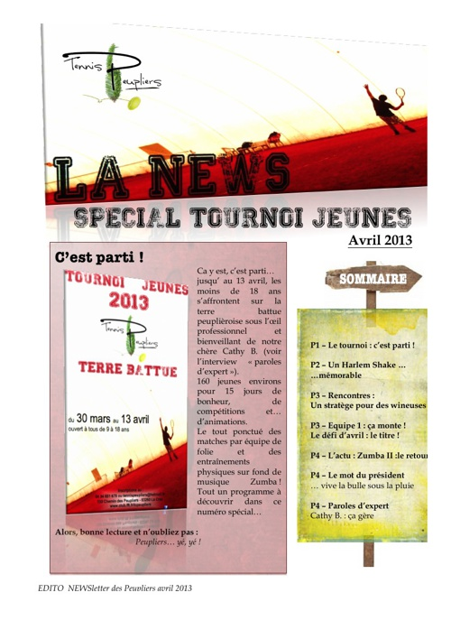 News des Peupliers - avril 2013