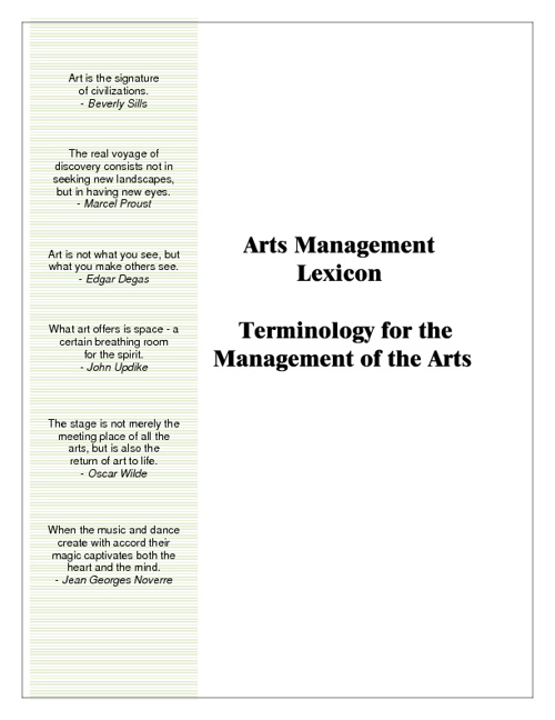 ARTS MANAGEMENT LEXICON