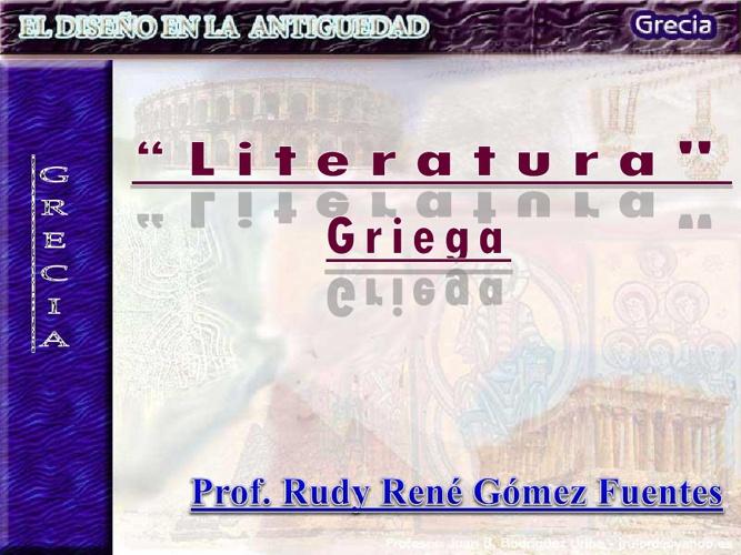 LITERATURA GRIEGA. MATERIAL PARA EL ESTUDIANTE