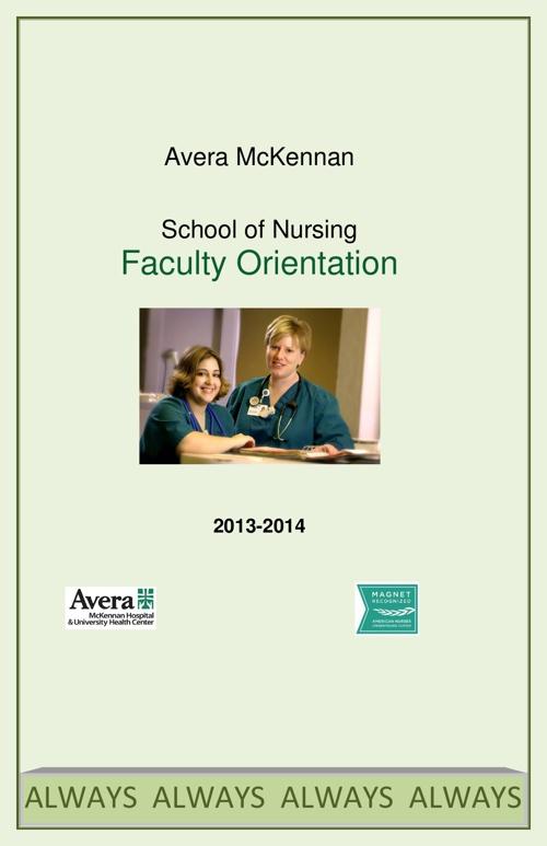 Avera McKennan School Of Nursing Faculty Orientation Book