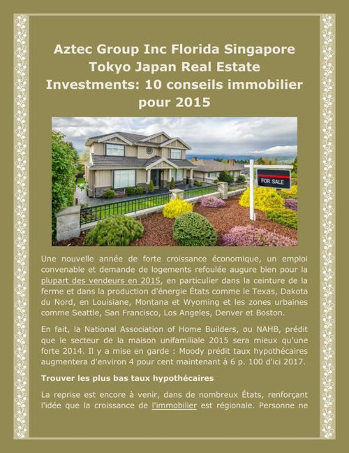 Aztec Group Inc Florida Singapore Tokyo Japan Real Estate