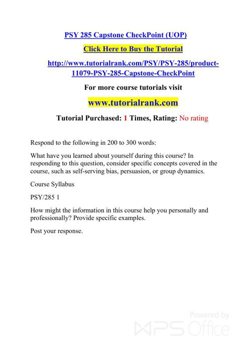 PSY 285 Potential Instructors/tutorialrank.com