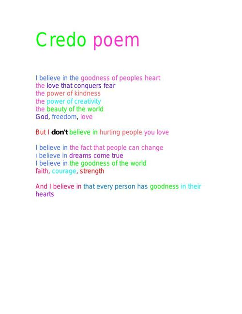 ._Credo poem for real